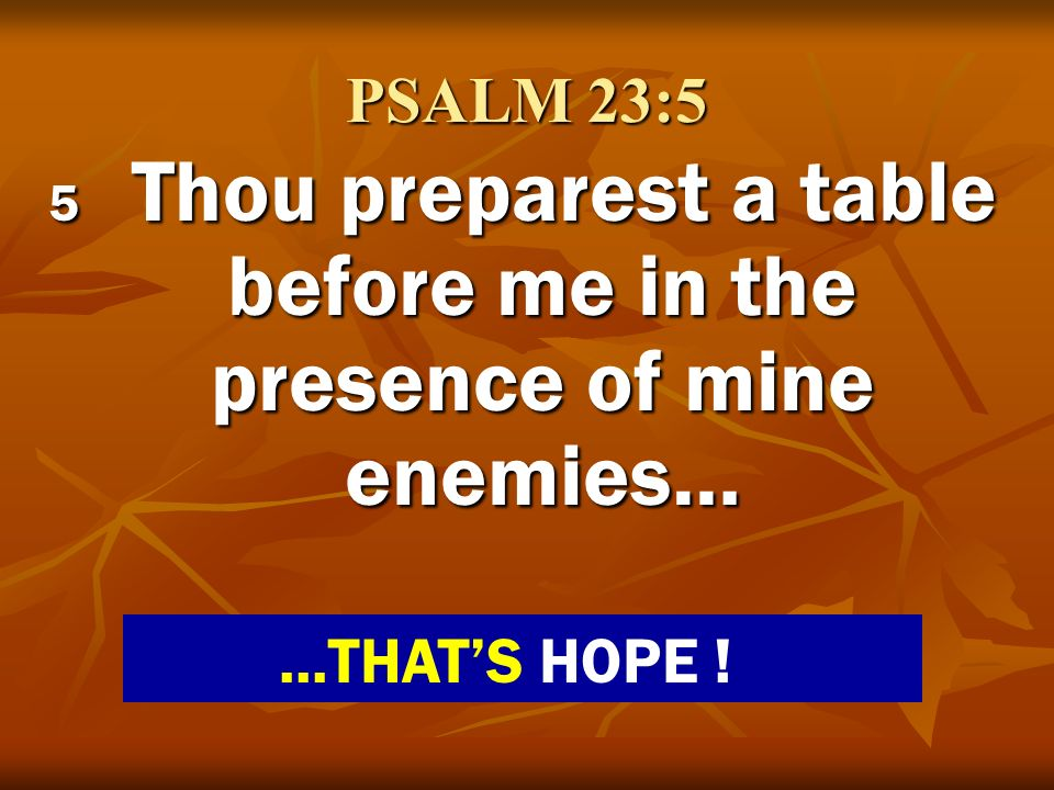 5 Thou preparest a table before me in the presence of mine enemies…
