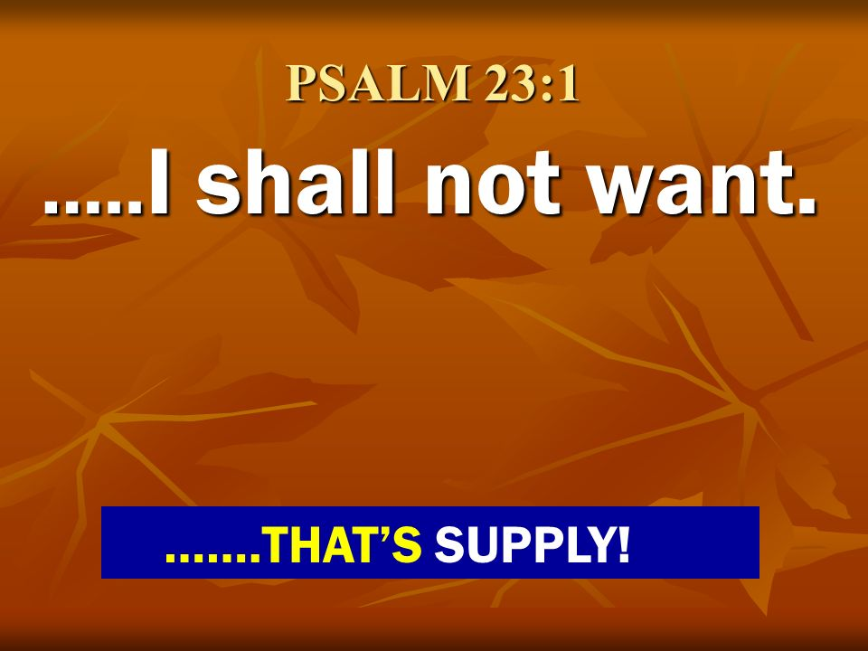 PSALM 23:1 …..I shall not want. …….THAT'S SUPPLY!