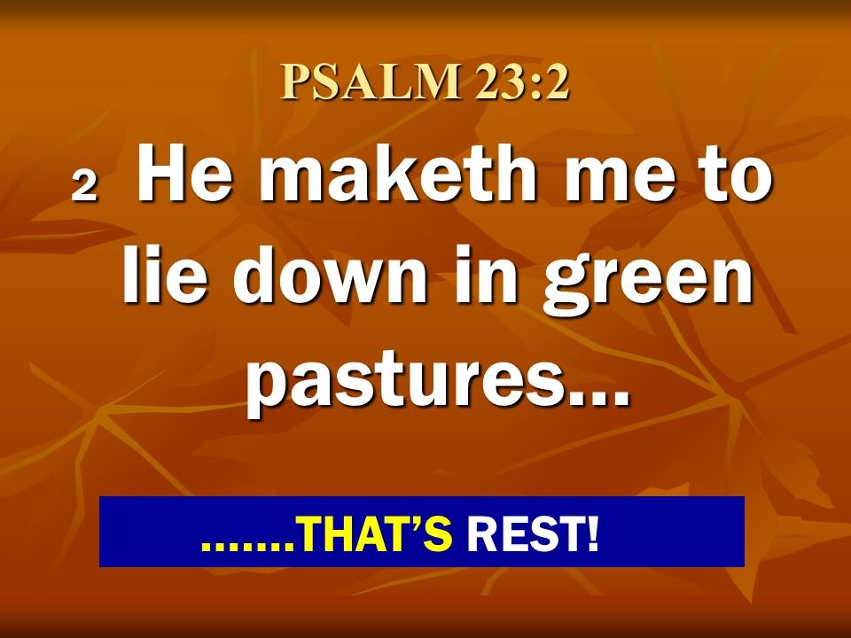 2 He maketh me to lie down in green pastures…
