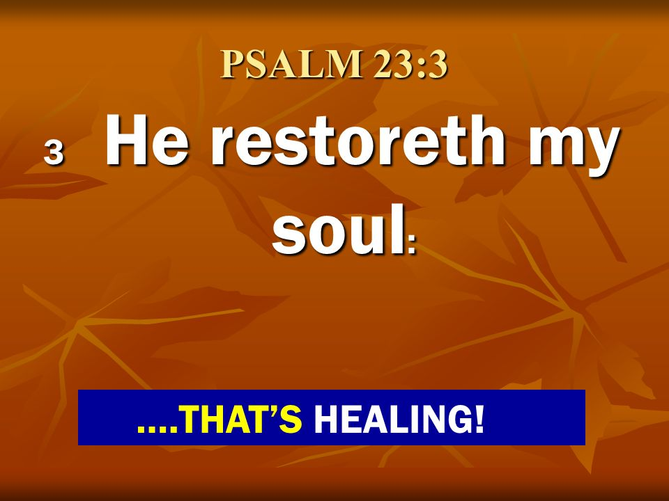 PSALM 23:3 3 He restoreth my soul: ….THAT'S HEALING!