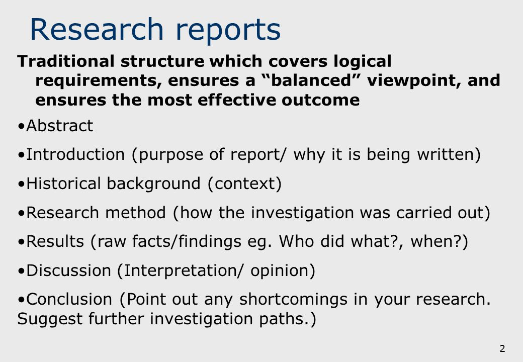 research report introduction