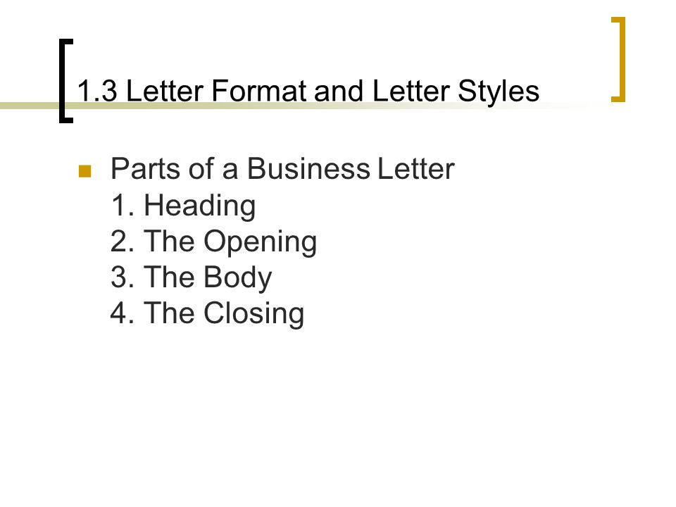 3 letter body parts unit 1 introduction to business writing ppt 1020