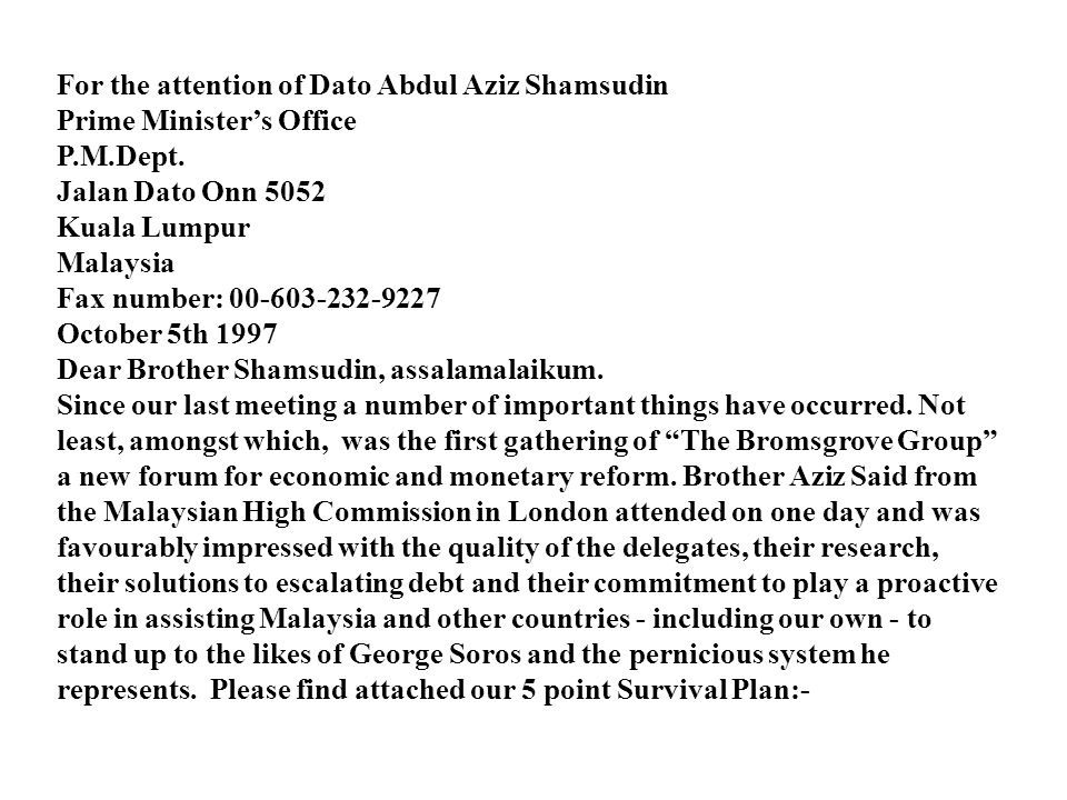 For the attention of Dato Abdul Aziz Shamsudin