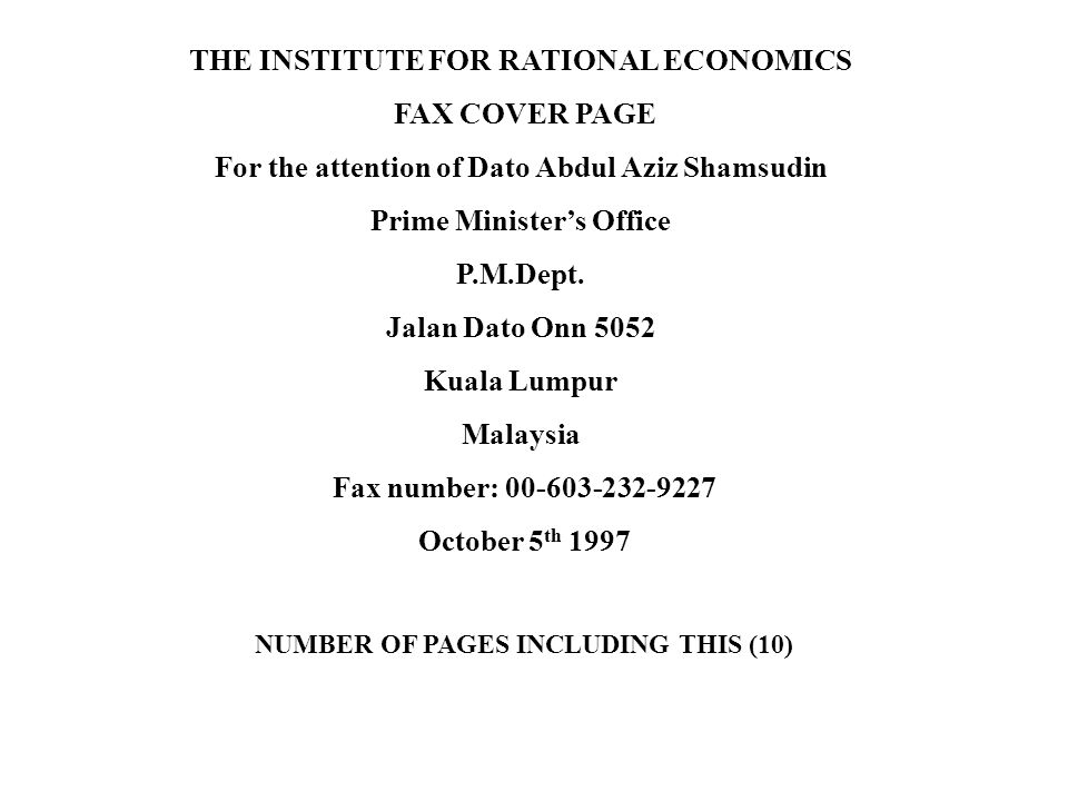 THE INSTITUTE FOR RATIONAL ECONOMICS FAX COVER PAGE
