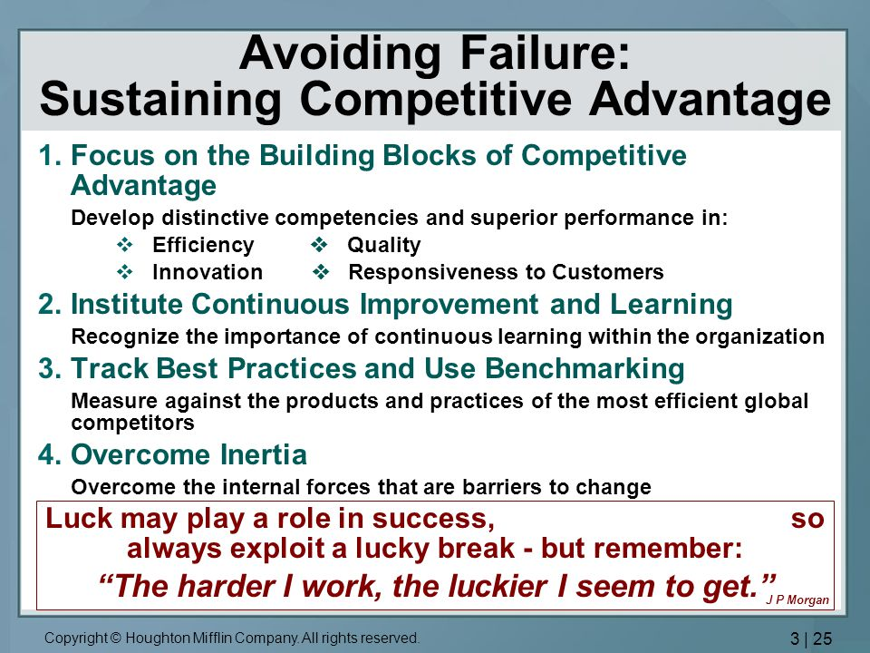 Avoiding Failure: Sustaining Competitive Advantage