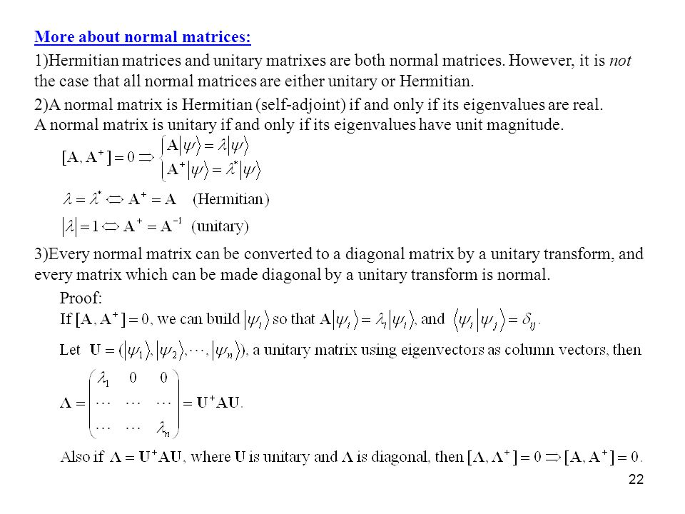 More about normal matrices: