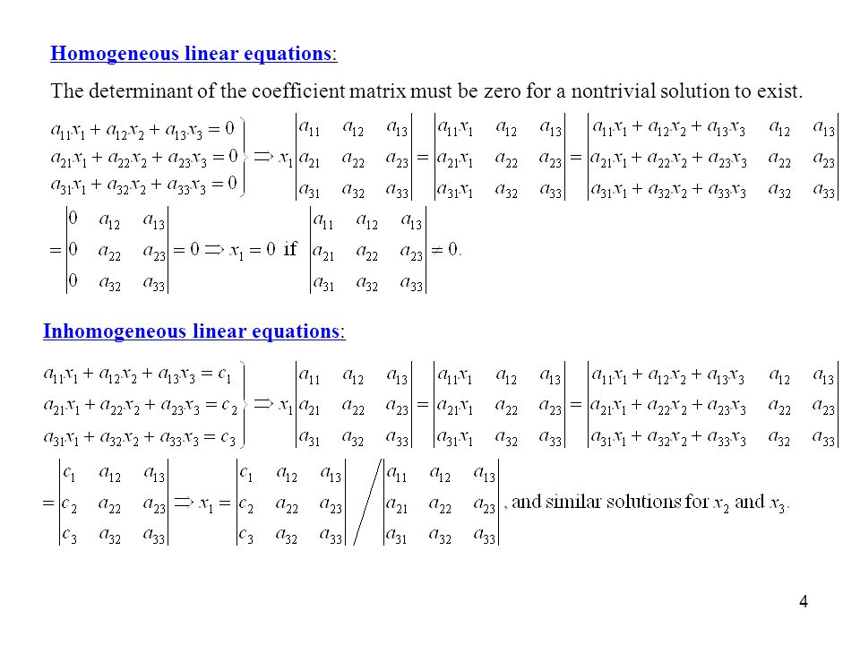 Homogeneous linear equations: