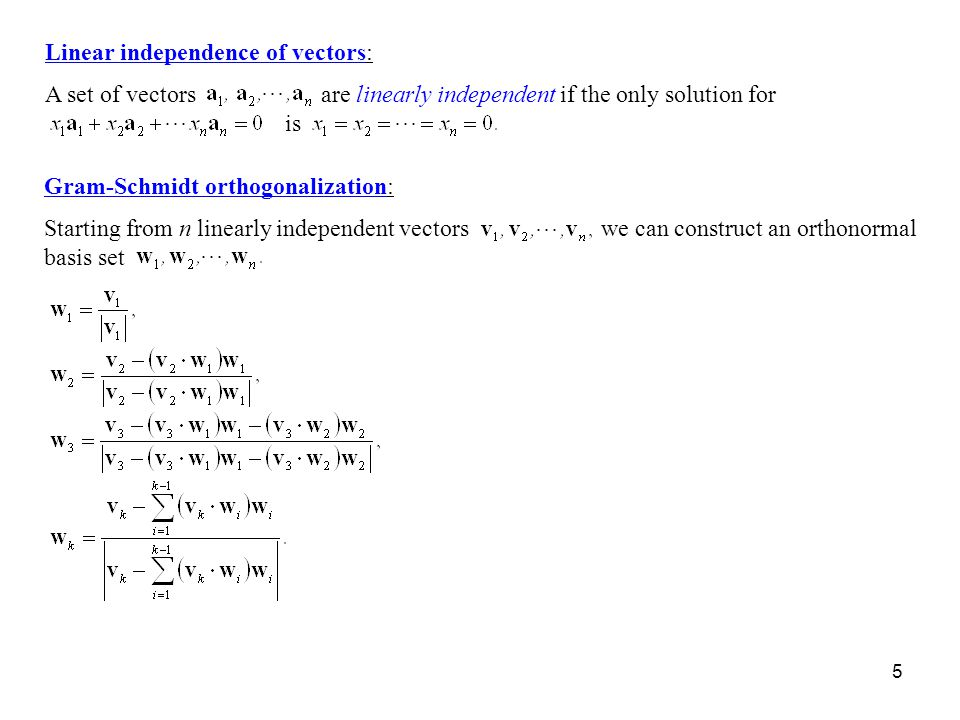 Linear independence of vectors: