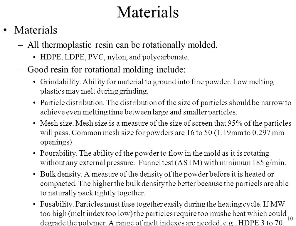 MFGT 142 Polymer Processing Chapter 15: Rotational Molding