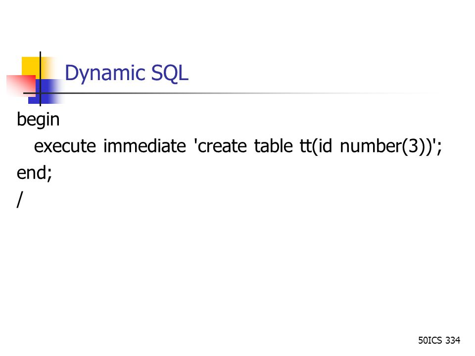 execute immediate create table pl sql