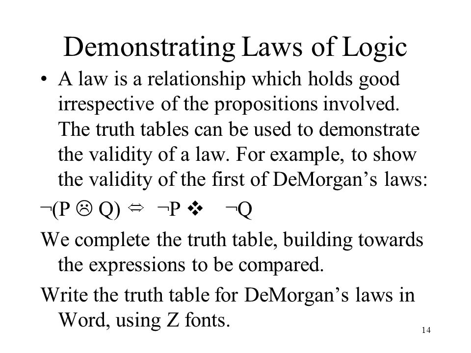 Demonstrating Laws of Logic