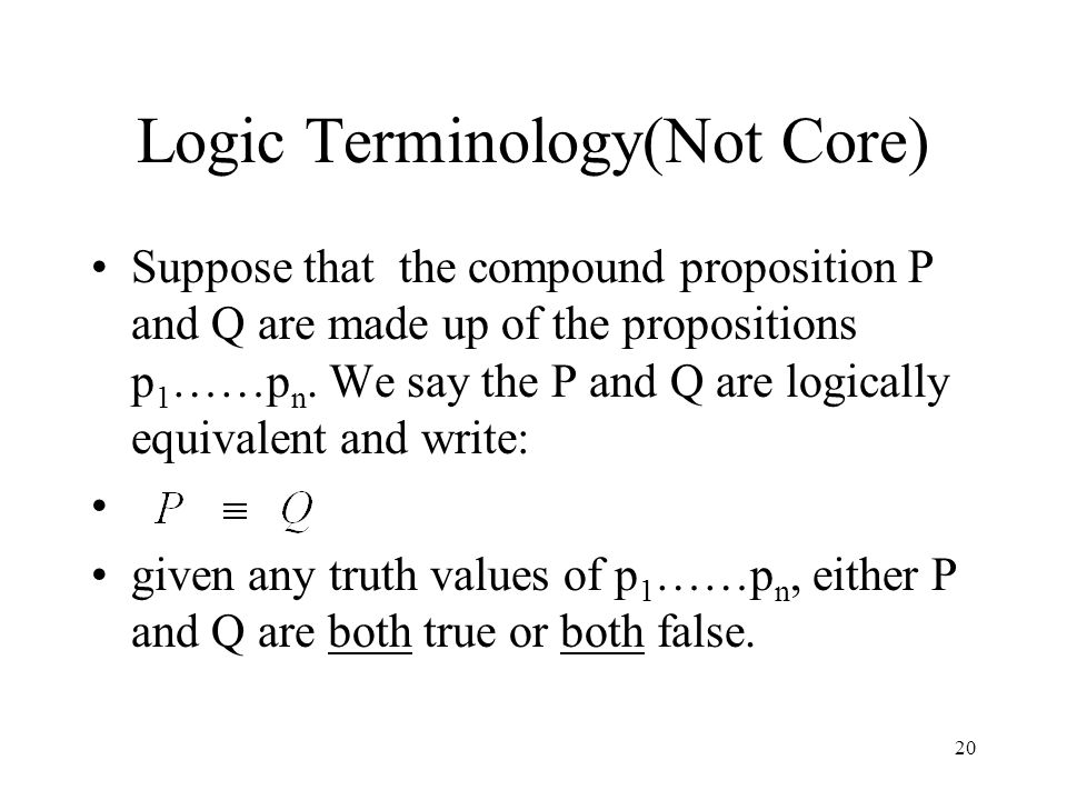Logic Terminology(Not Core)