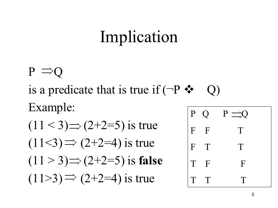 Implication P Q is a predicate that is true if (¬P v Q) Example: