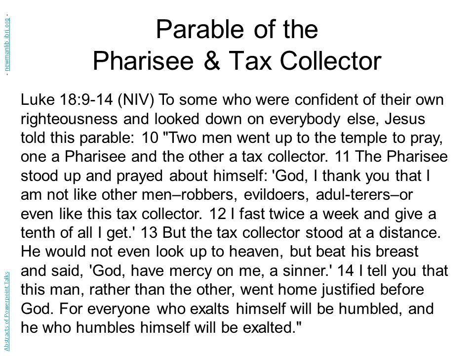 Parable of the Pharisee & Tax Collector