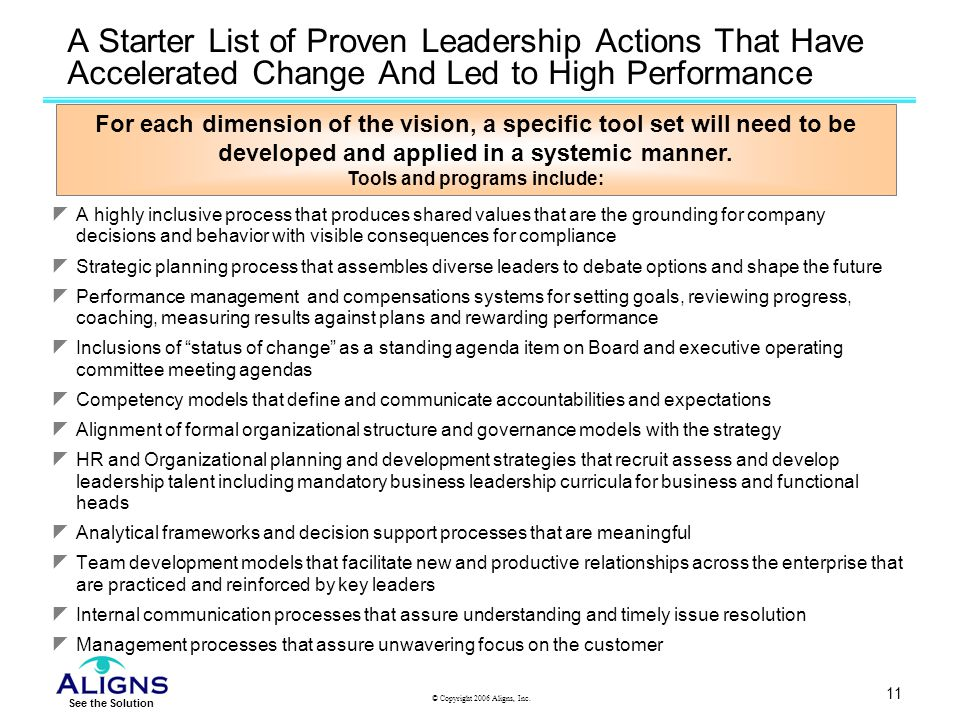 A Starter List of Proven Leadership Actions That Have Accelerated Change And Led to High Performance
