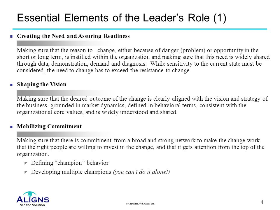 Essential Elements of the Leader's Role (1)
