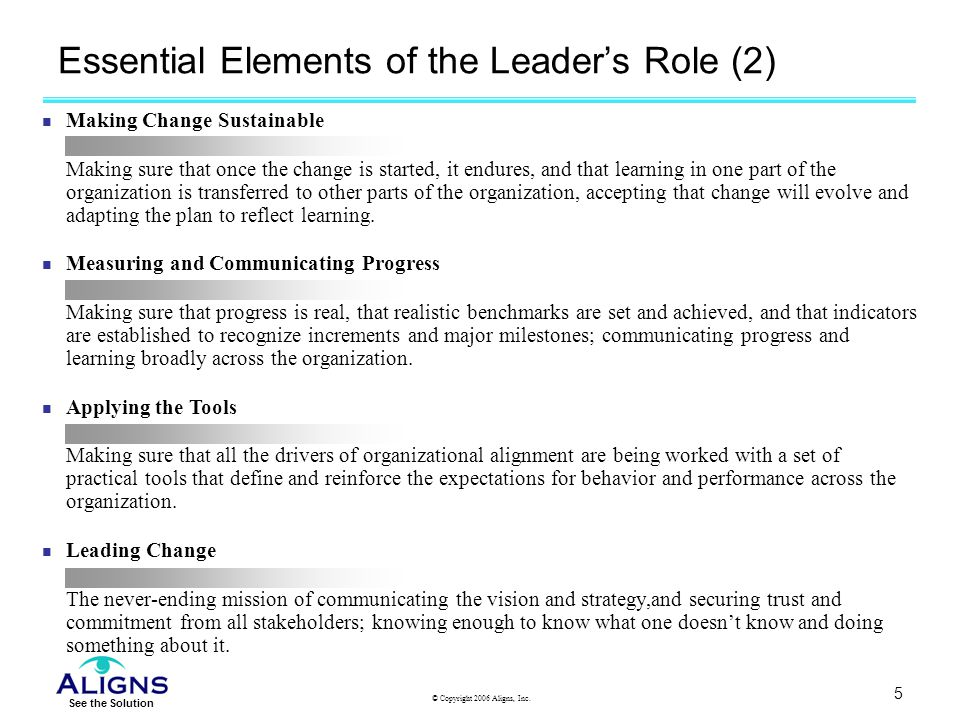 Essential Elements of the Leader's Role (2)