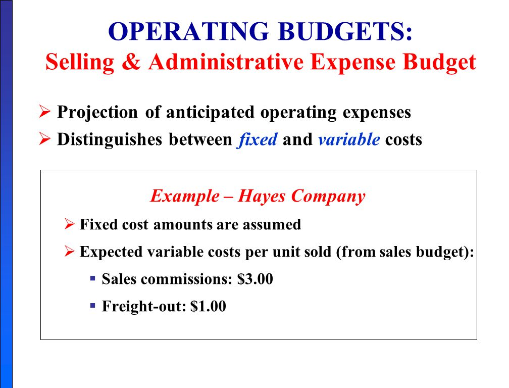35 operating budgets selling administrative expense budget