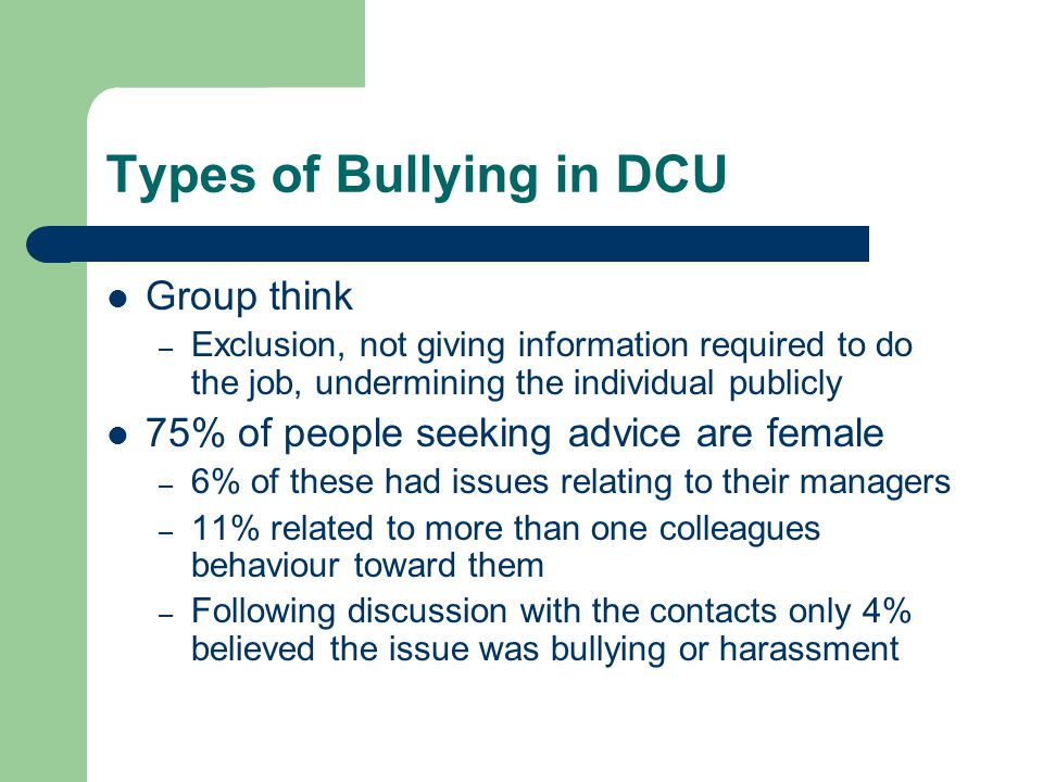 Types of Bullying in DCU
