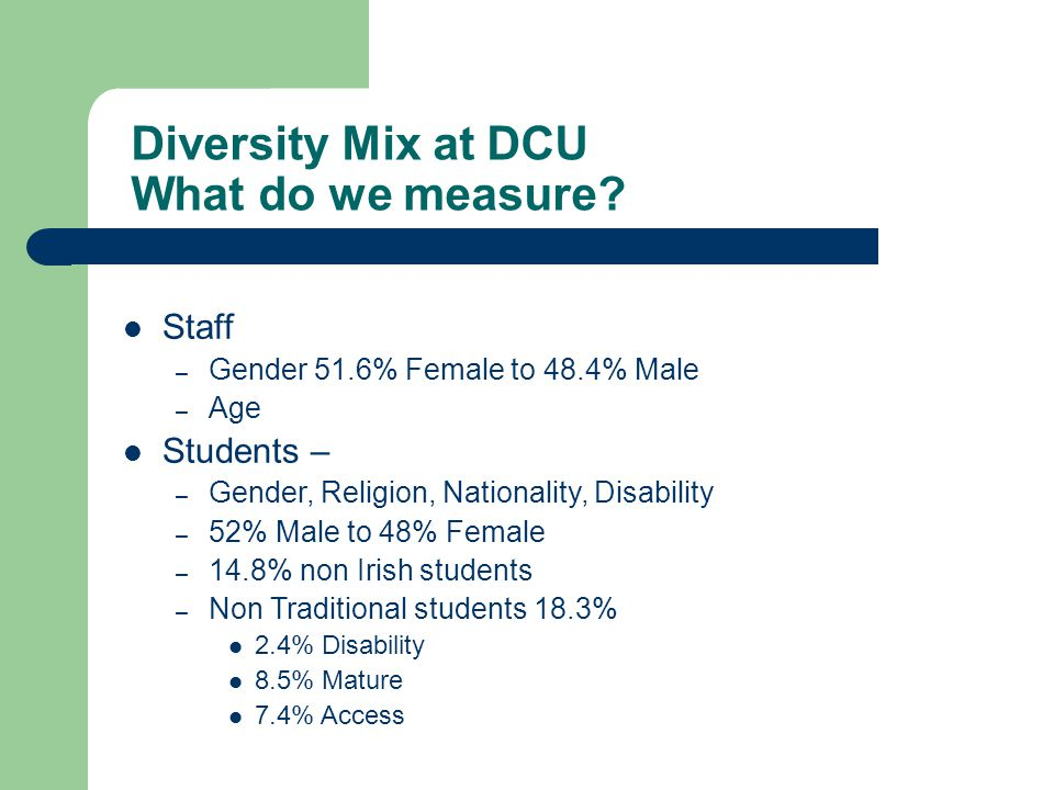 Diversity Mix at DCU What do we measure