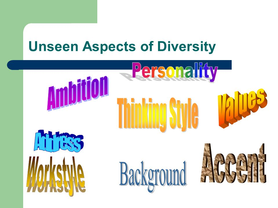 Unseen Aspects of Diversity