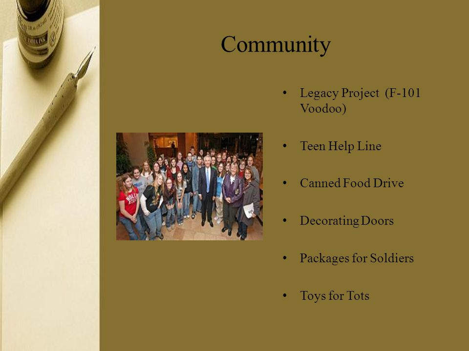 Community Legacy Project (F-101 Voodoo) Teen Help Line