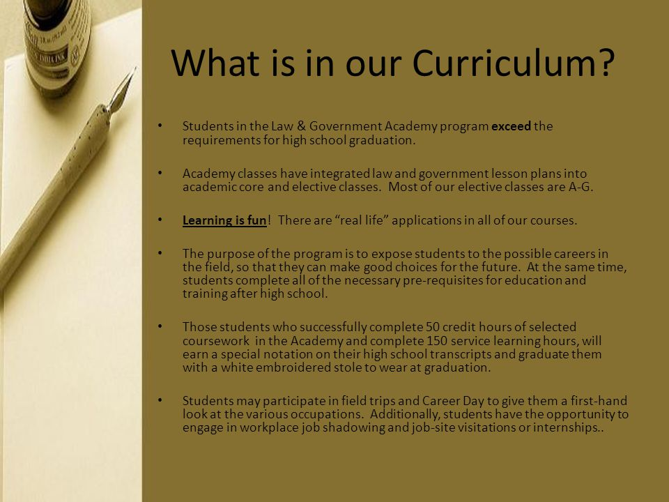 What is in our Curriculum