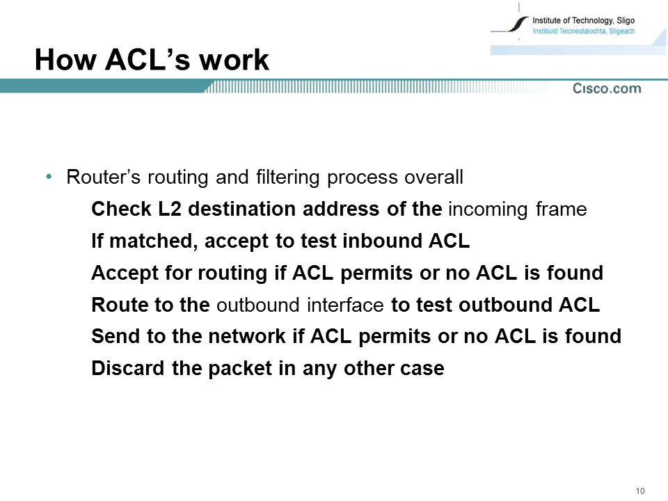 How ACL's work Router's routing and filtering process overall