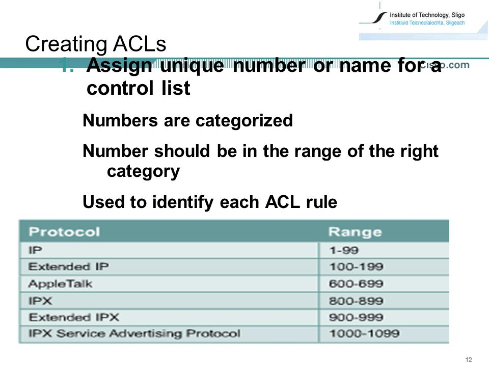 Creating ACLs Assign unique number or name for a control list