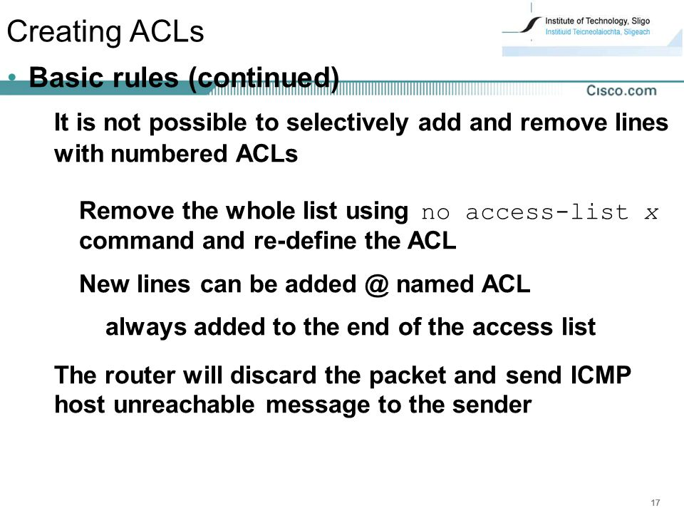 Creating ACLs Basic rules (continued)