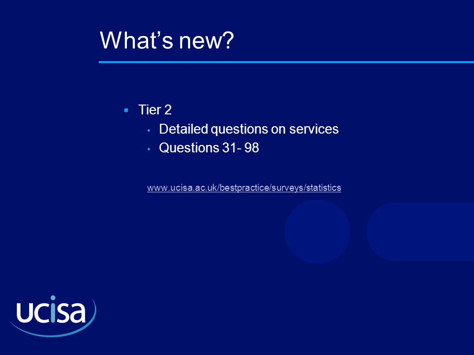 What's new Tier 2 Detailed questions on services Questions 31- 98