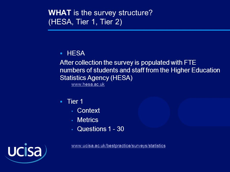 WHAT is the survey structure (HESA, Tier 1, Tier 2)