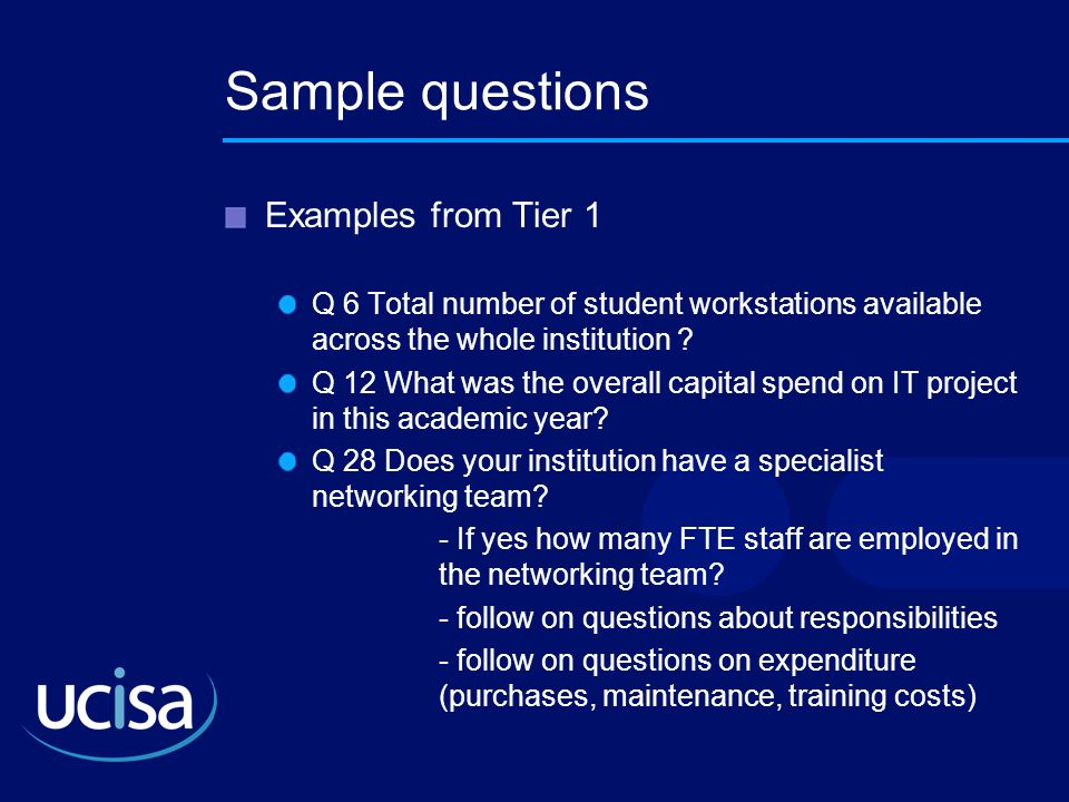 Sample questions Examples from Tier 1