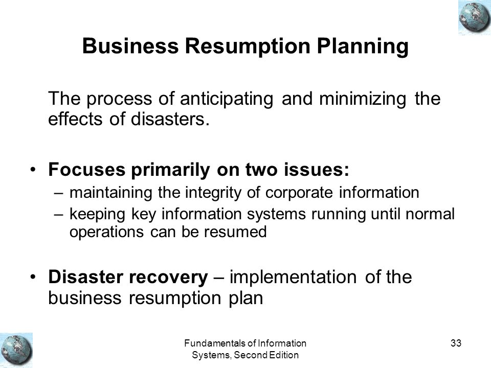 Business Resumption Planning