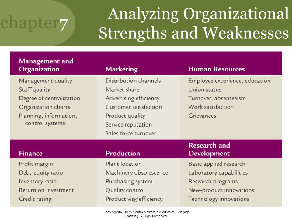 Analyzing Organizational Strengths and Weaknesses