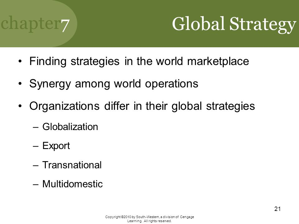 Global Strategy Finding strategies in the world marketplace