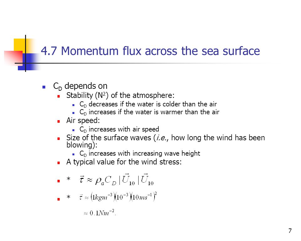 4.7 Momentum flux across the sea surface