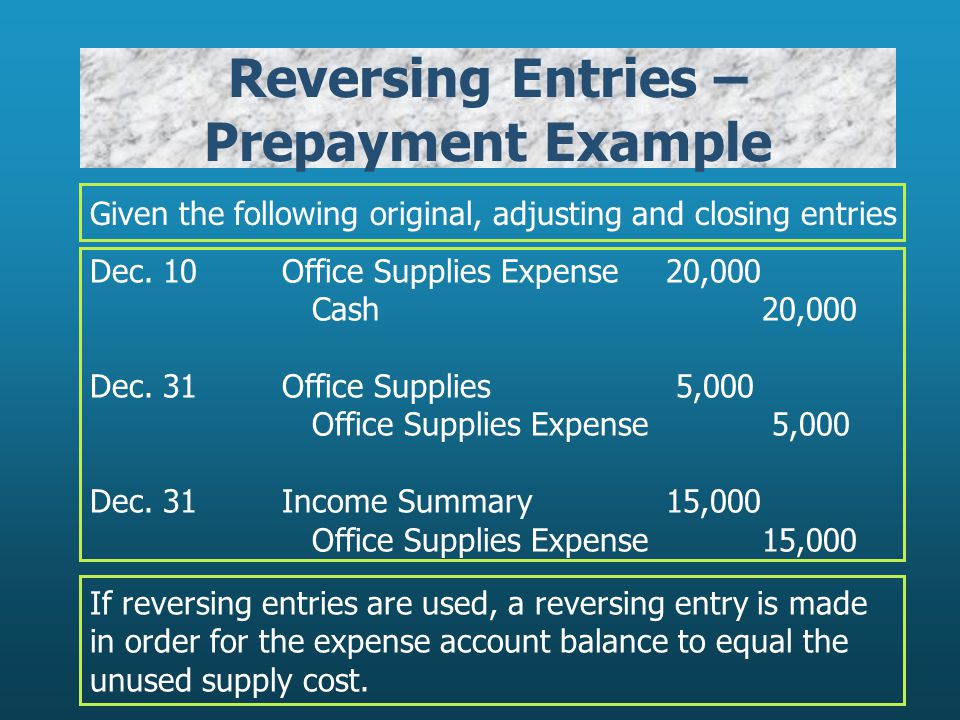 Reversing Entries – Prepayment Example