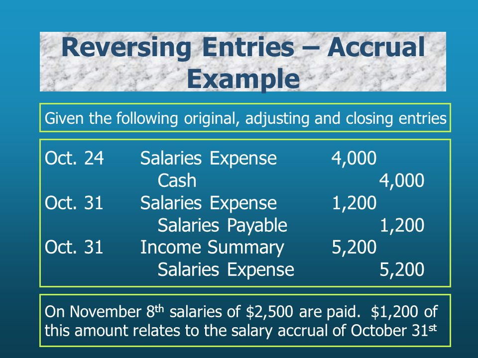 Reversing Entries – Accrual Example