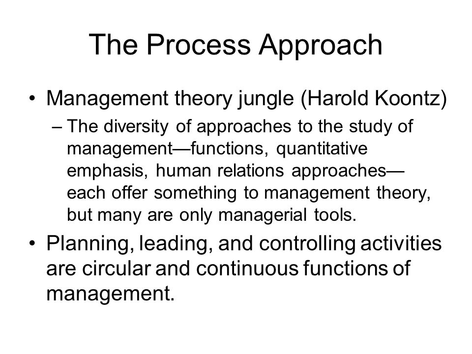 The Process Approach Management theory jungle (Harold Koontz)