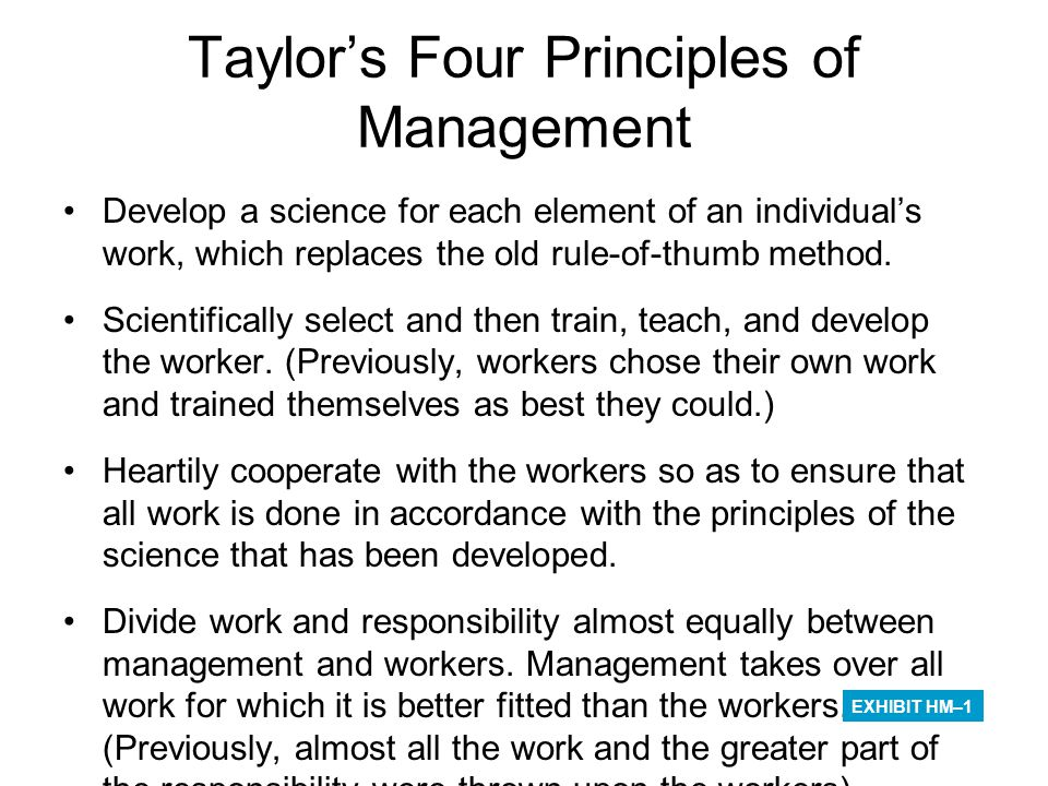 Taylor's Four Principles of Management