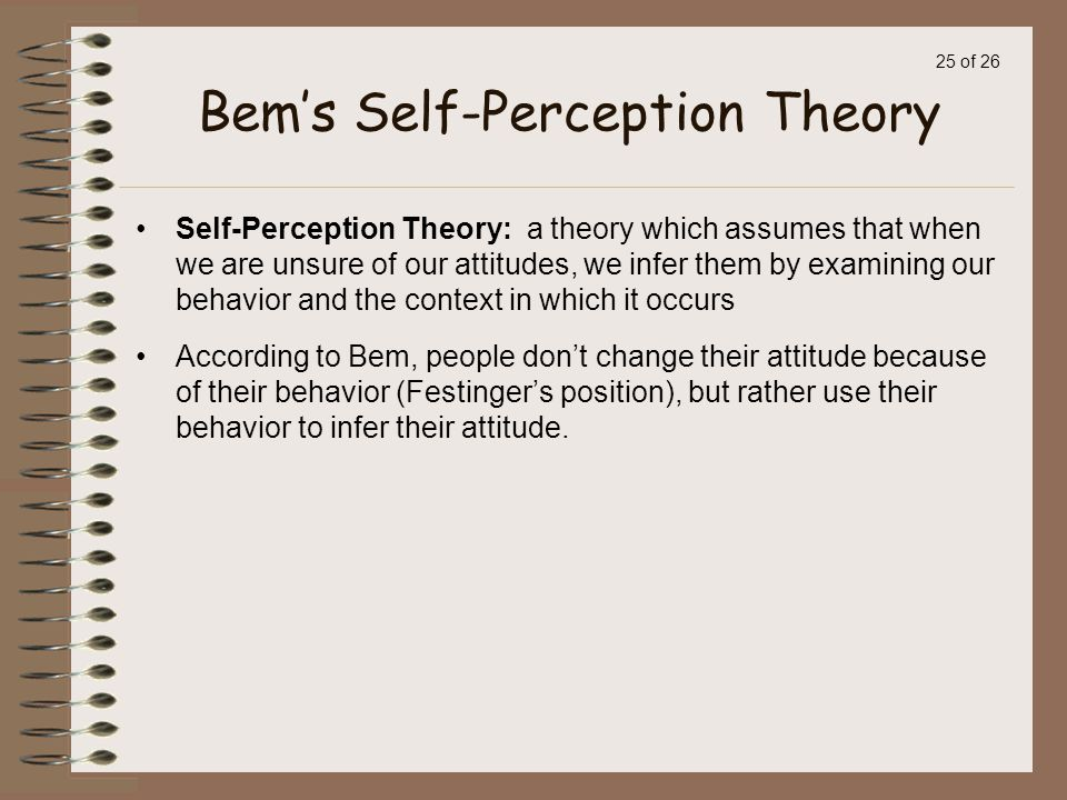 Self perception theory examples.