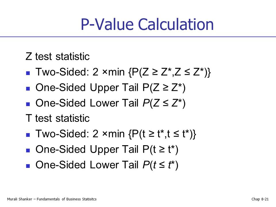 P-Value Calculation Z test statistic