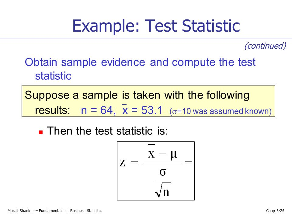 Example: Test Statistic