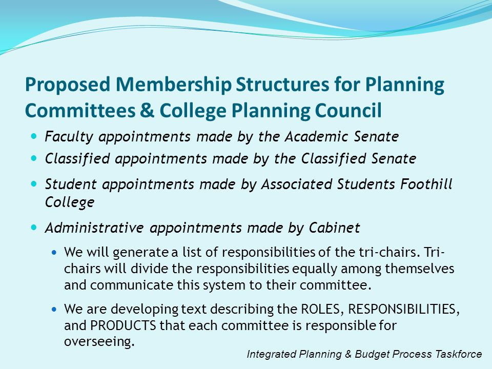 Proposed Membership Structures for Planning Committees & College Planning Council