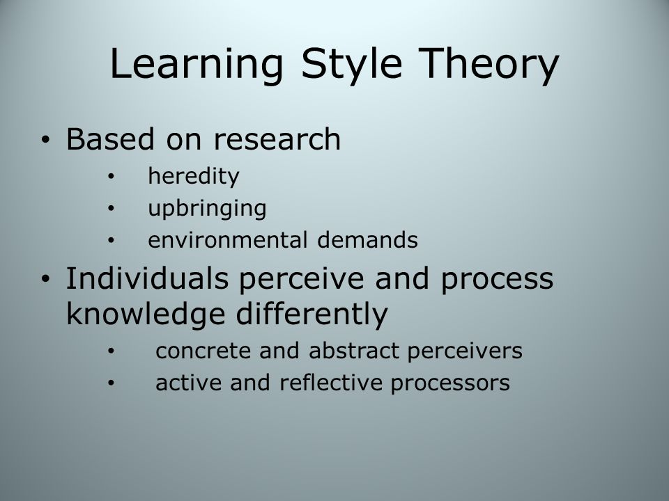 Learning Style Theory Based on research