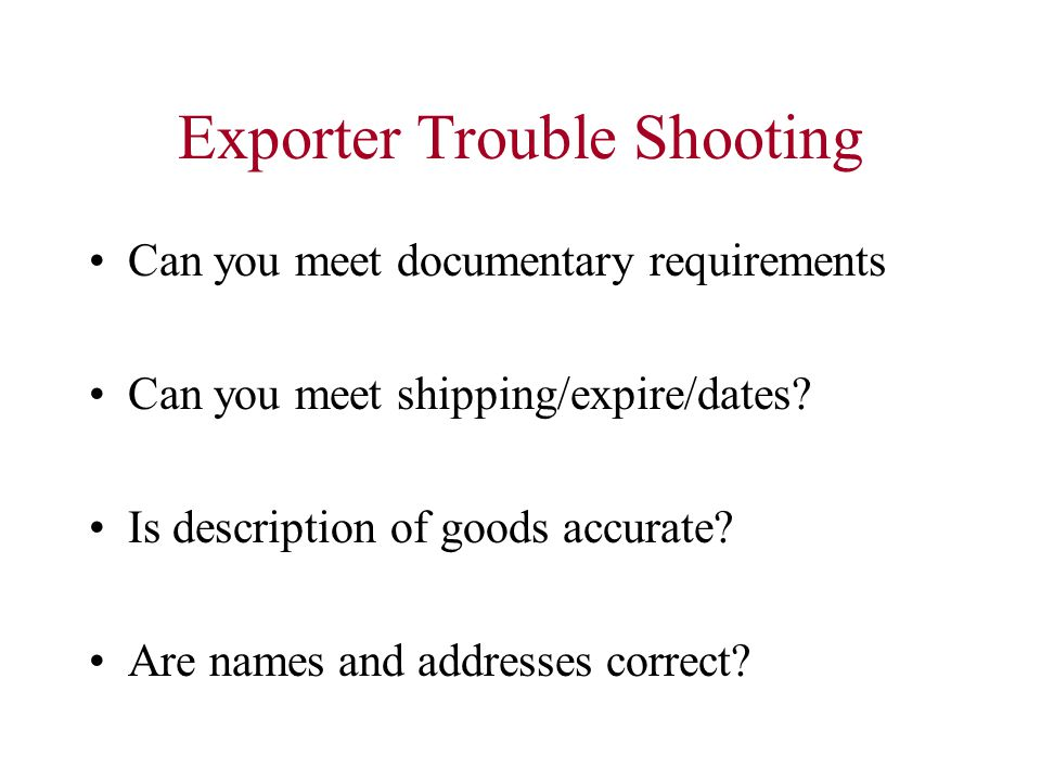 Exporter Trouble Shooting