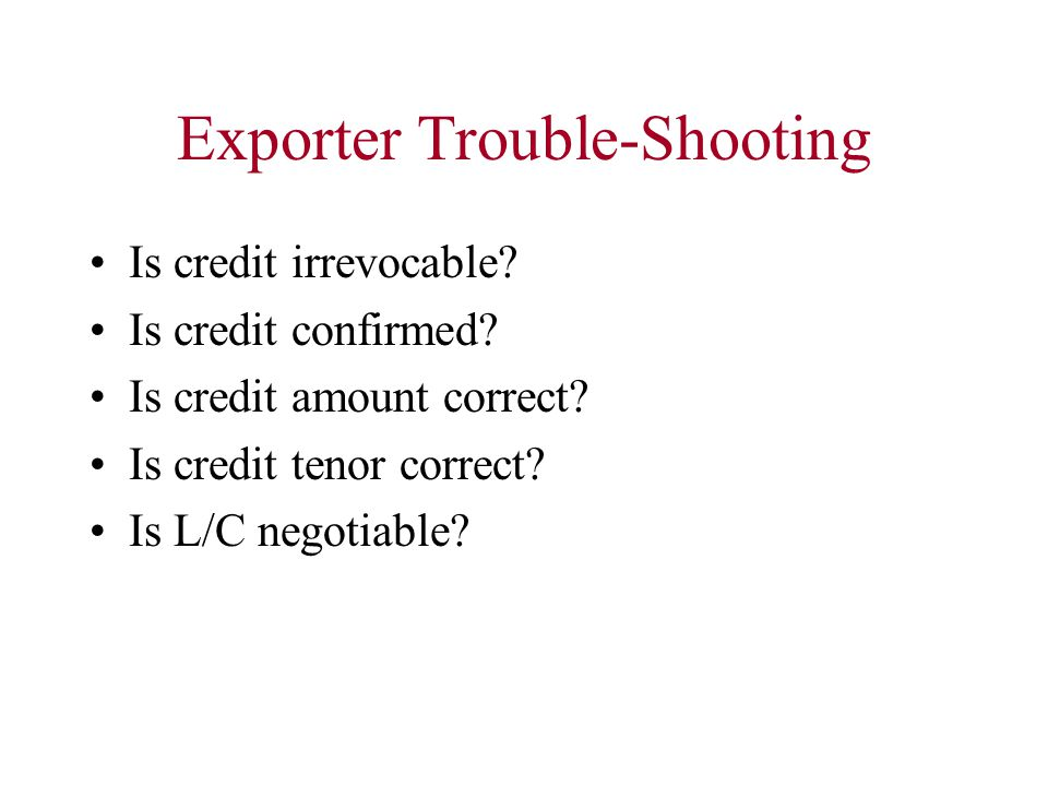 Exporter Trouble-Shooting