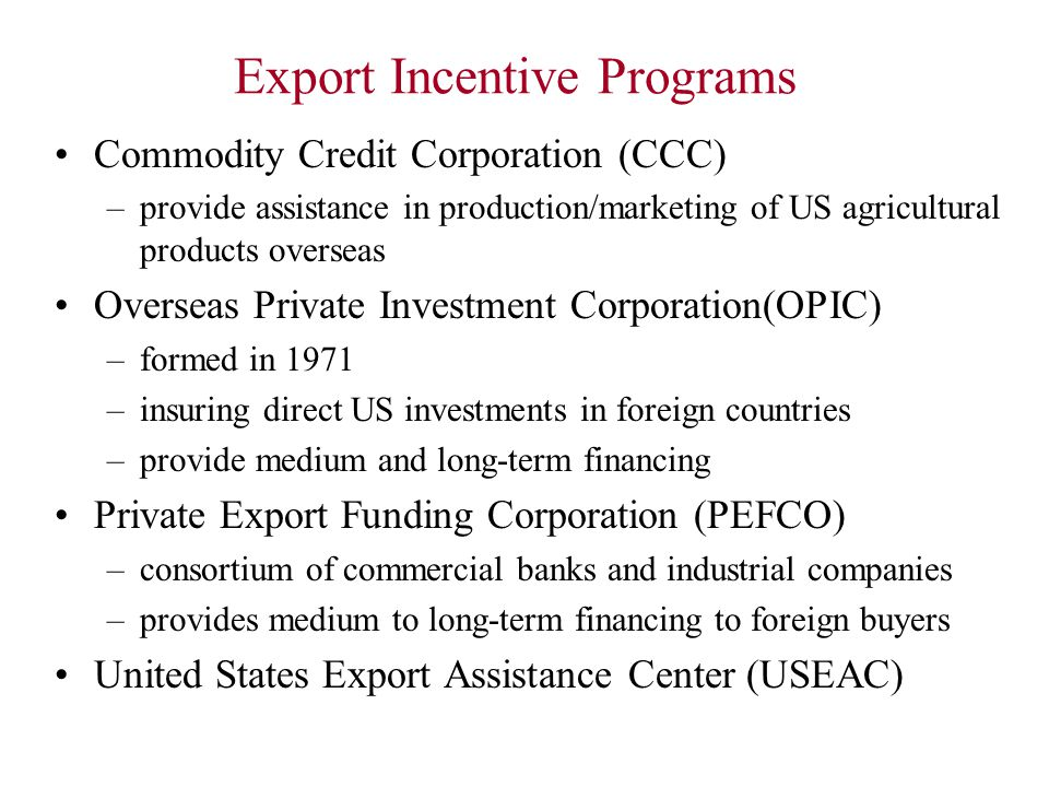 Export Incentive Programs
