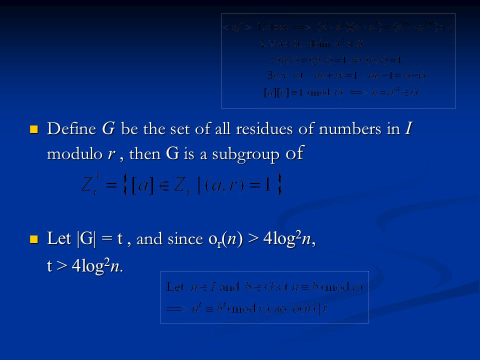 Define G be the set of all residues of numbers in I modulo r , then G is a subgroup of